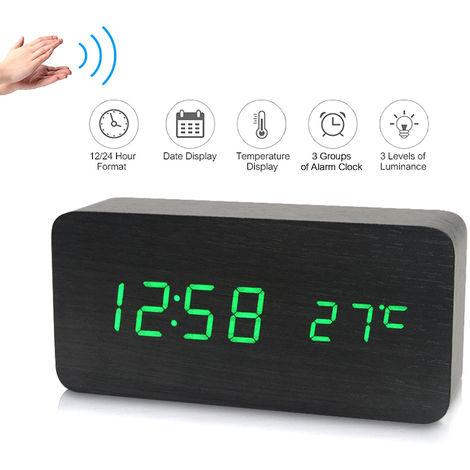 LED digital electronico de alarma de madera reloj de tiempo / temperatura / Fecha visualizacion del reloj de escritorio 3 niveles de brillo Control de voz de carga USB o de alimentacion de la bateria, Negro, luz verde