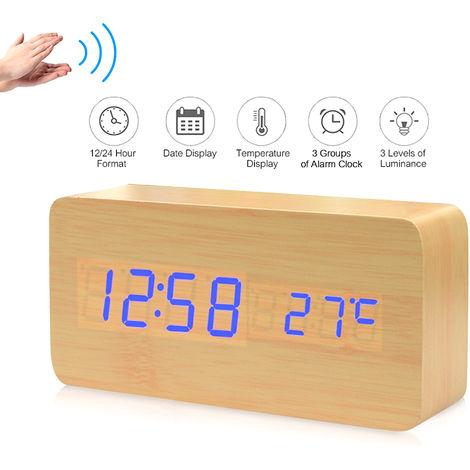 LED digital electronico de alarma de madera reloj de tiempo / temperatura / Fecha visualizacion del reloj de escritorio 3 niveles de brillo Control de voz USB de carga de la bateria o el suministro - de madera natural, luz azul