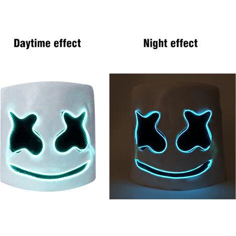 LED DJ Marshmello Casque Music Festival Light Up Marshmallow Masque de nouveaute de Halloween Costume Party Masque Latex, bleu