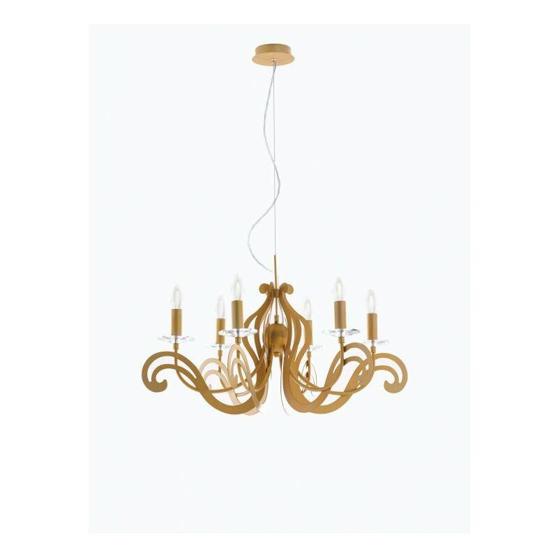 Lampadario dorato con decorazioni originali 40 watt E14
