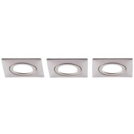 LED downlight Andrej, angular, nickel, set of 3