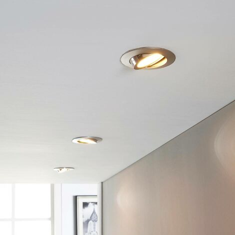 LED downlight Andrej, round, nickel, set of 3