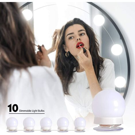 """main image of """"LED Dressing Table Mirror Light, Hollywood LED Light Kit Dimmable 10 Bulbs Adjustable Brightness 3 Colors 10 Brightness Levels LED Makeup Mirror Lamp for Cosmetic Room / Dressing Table"""""""