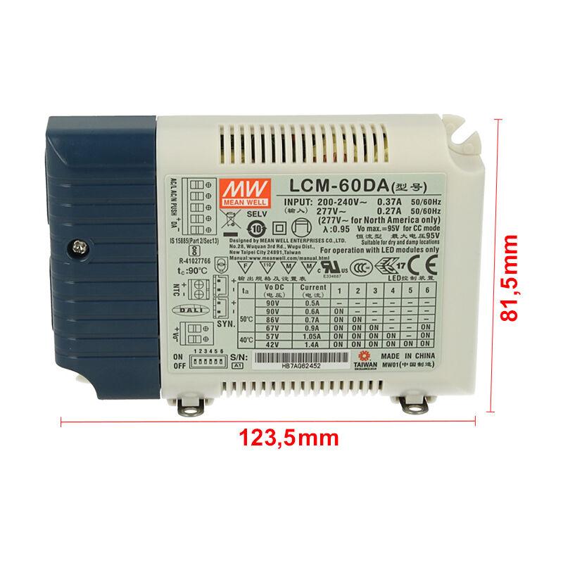 LEDLUX MW6088DA Led Driver CC LCM-60DA Dimmerabile DALI Pulsante NO Corrente Costante Selezionabile 500/600/700/900/1050/1400mA - Meanwell