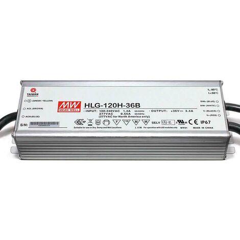 LED Driver Mean Well DC18-36V/120W/3400mA Regulable 0-10V, regulable