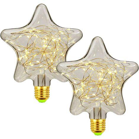 LED E27 Deko Creative Fairy Bulb 1.5W Warm White Edison Bulb Decorative Star & Heart Lighting for Christmas, Party, Wedding, Bar, Festive Decorations, Non Dimmable, 2pcs Stars