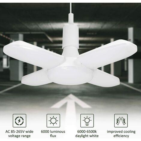 LED Éclairage de garage - lampe d'atelier déformable intérieur 60W pour lampe de garage, déformable à 4 panneaux ajustables