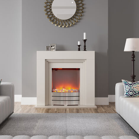 LED Electric Freestanding Fireplace Heater Fire Place with Beige MDF Mantel