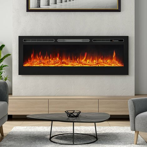 """main image of """"LED Electric Wall Mounted Fireplace Recessed Fire Heater 12 Flames With Remote"""""""
