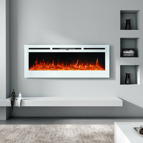 LED Electric Wall Mounted Fireplace Recessed Fire Heater 12 Flames With Remote, White 40inch