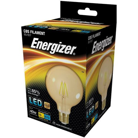 LED Energizer ES 5W E27 G95 Ahorra Energía - Lámpara Antigua Dorada Tipo Globo
