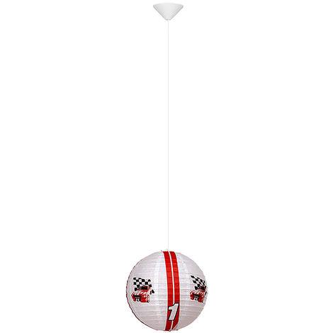 LED enfants lampe suspendue boule de papier rouge blanc voiture de course conception pendule salle de jeux spot plafonniers