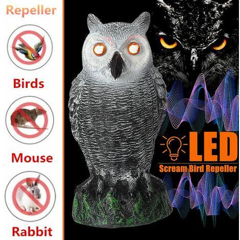 LED Eyes Voice Home Garden Birds Repellent Hunting Fake Owl Lure Deterrent Garden Decor Toy WASHING