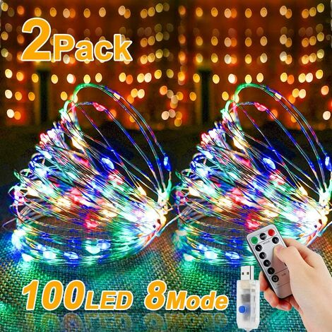 LED Fairy Lights, 2 Pieces, 10 m, 100 LED USB String Lights, Wire Waterproof with Switch, Copper Wire Mood Light Chain for Room, Indoor, Christmas, Outdoor, Party, Wedding, DIY etc.