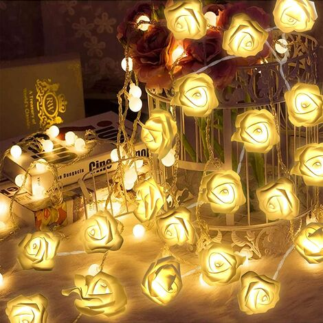 LED Fairy Lights Flower Garland 40 LED Fairy Lights 8 Patterns Indoor & Outdoor Decoration Christmas Tree Wedding Party Holiday Birthday Garden (White)