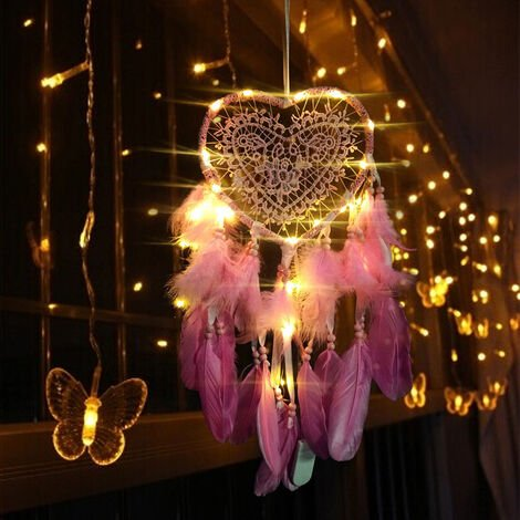 LED Fairy Lights Heart Dream Catcher Gift Wedding Home Decor