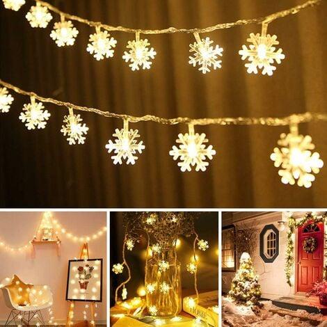 LED Fairy Lights Snowflakes - 3M 80 LED, Christmas Usb Snowflake Fairy Lights Warm White, Waterproof Lighting Mood Lights for Garden Christmas Tree Indoor Outdoor