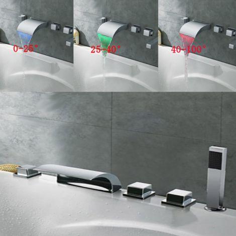 Led Faucet Mixer Tap Bathtub 3 Color Bathroom Hasaki