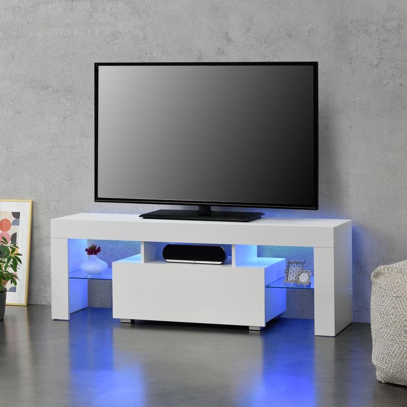 [en.casa] - LED-Fernsehtisch 130 x 35 x 45 cm TV Lowboard mit Schublade Glasablage Spanplatte Weiß