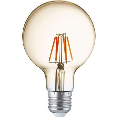 LED FILAMENT BULBS PACK 5 x LED AMBER GLASS FILAMENT GLOBE BULB, E27 6W, 600LM