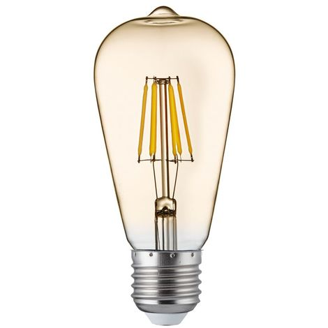 LED FILAMENT BULBS PACK 5 x LED AMBER GLASS FILAMENT SQUIRREL BULB E27 6W, 600LM