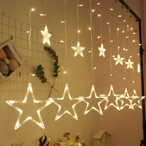 """main image of """"LED five-pointed star curtain lights stringChristmas decoration lights white European standard round plug 220V plug-in models"""""""