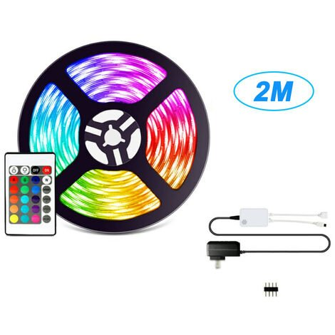 LED Franja Kit 2M / 6.7ft Longitud 5050 Rvb remoto Cambio de color de la tira impermeable inteligente 12V Luz Para decoracion de la barra