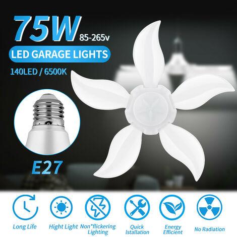 LED Garage Shop Work Lights Maison Plafonnier Lampe Déformable 75W E27 140LED Noir