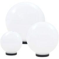 LED-Gartenleuchten-Set 3-tlg. Kugelförmig 20/30/40 cm PMMA