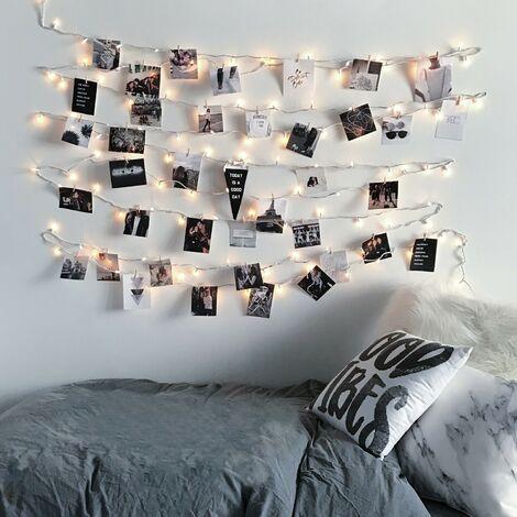 LED Girlande Klammern Goldrosa Roségold