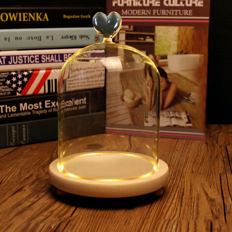 LED Glass Cloche Dome Bell Jar Wooden Base Wedding Party DIY Display Decor Stand