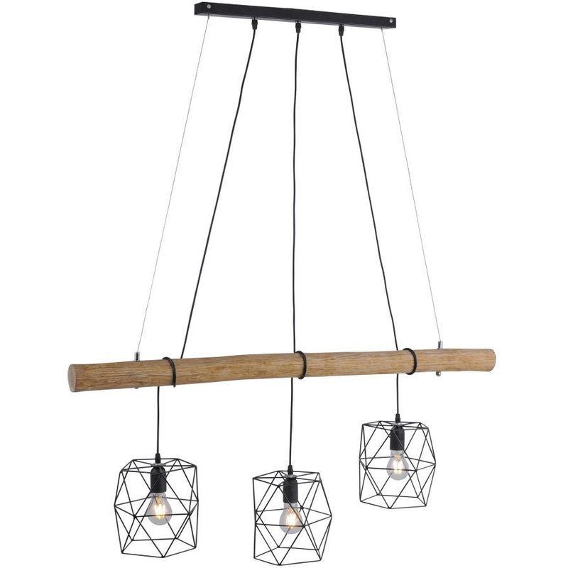 Etc-shop - Hänge Leuchte Decken Strahler Holz Balken Gitter Optik Pendel Lampe im Set inkl. LED Leuchtmittel