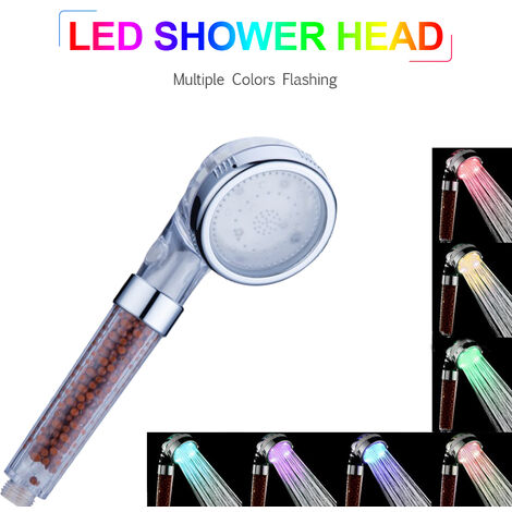 LED Hand Shower Head Ionic Filter Color-Changing Showerhead