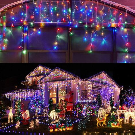 """main image of """"Led Icicle Lights Outdoor Christmas Decorations Lights 300LED Icicle Christmas Lights, Outdoor Fairy String Lights for Party, Holiday, Wedding Decorations (Multicolor)"""""""