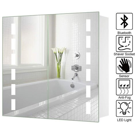 LED Illuminated Bathroom Mirror Cabinet with Lights Shaver Socket Bluetooth Touch Sensor Demister Pad 650x600MM