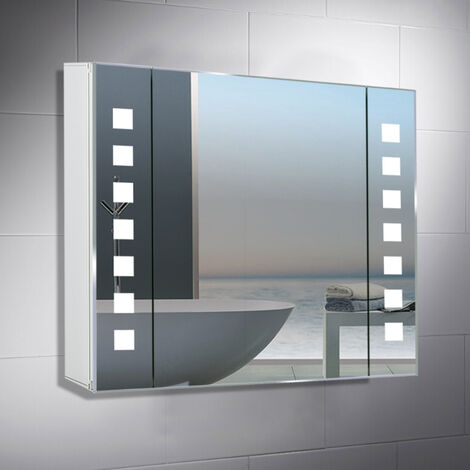 LED Illuminated Bathroom Mirror Cabinet with Shaver Socket