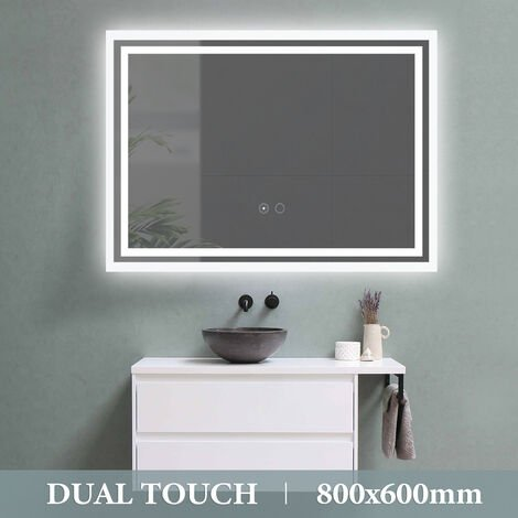 LED Illuminated Bathroom Mirror Dual Touch Control with Demister 800X600mm UK Plug