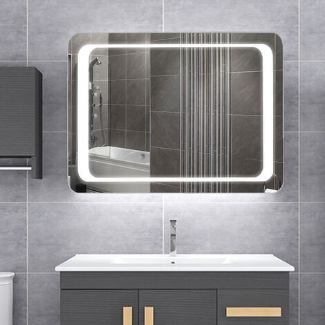 LED Illuminated Bathroom Mirror with Lights Sensor Switch, Demister Pad 600x800MM