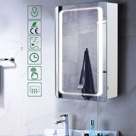 LED Illuminated Wall Mounted Bathroom Mirror Cabinet with Sensor Shaver Socket Demister Pad 700x500MM