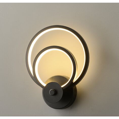 """main image of """"Led Indoor Wall Light Modern Black Round Art Wall Lamp for Bedroom Lounge Hallway Cafe Warm White"""""""