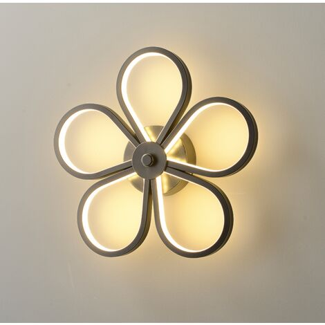 Led Indoor Wall Light Modern Wall Sconce Creative Flower Wall Lamp Black for Bedroom Lounge Hallway Cafe Warm White