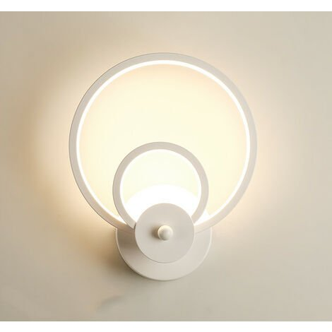 Led Indoor Wall Light Modern White Round Art Wall Lamp for Bedroom Lounge Hallway Cafe Warm White