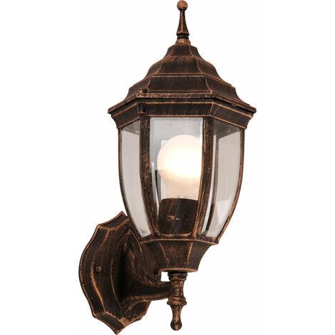 LED jardín al aire libre lámpara de pared de 9,5 W Aluminio 2700 Kelvin vidrio oro negro EEK A +