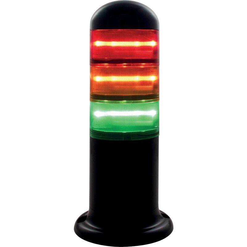 Colonne lumineuse à feu à éclats préconfigurée à LED Feu Fixe, Ambre, Vert, Rouge, 120 240 V c.a.