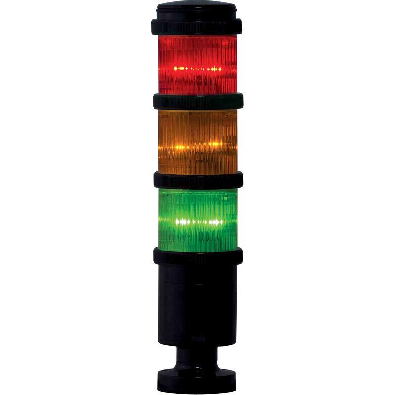 Colonne lumineuse à feu à éclats préconfigurée à LED Feu Flash, Fixe, Ambre, Vert, Rouge, 24 V (c.a./c.c.)