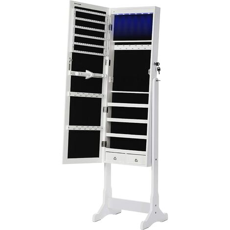 LED Jewelry Cabinet, Full Length Mirrored Jewellery Armoire, Lockable Jewellery Organiser with 2 Drawers, Sturdy and Stylish, Gift Idea, White JBC94W