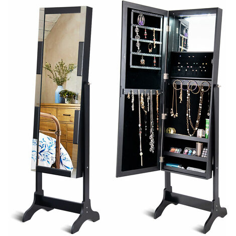 LED Jewelry Jewellery Cabinet Storage Boxes Organiser Armoire Mirror&Floor Stand