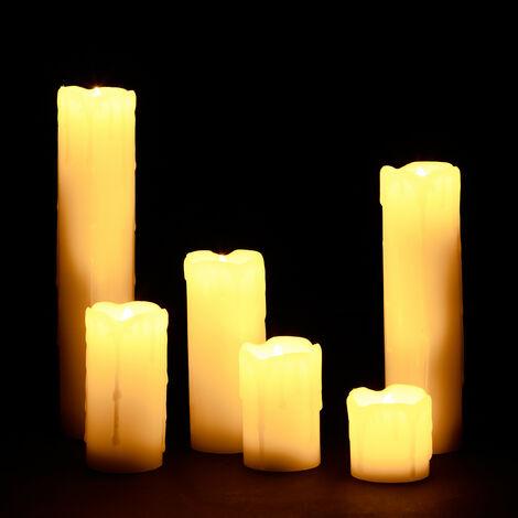LED Kerzen Set, 6 Echtwachskerzen flammenlos, elektrische Kerzen flackernd, Batterie, Durchmesser 5 cm, creme