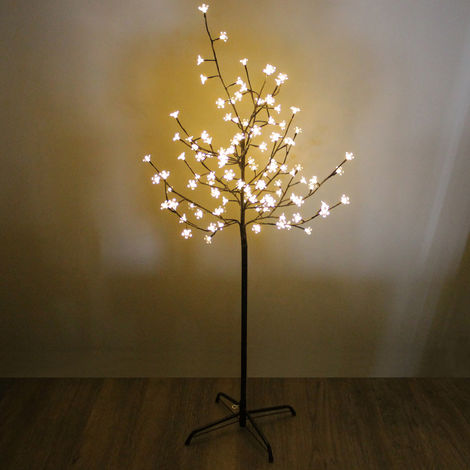 LED Kirschbaum mit 8 Lichteffekten Innen und Außen 120 LEDs 150cm Blüten klar warmweiß Kirschblütenbaum Lichterbaum