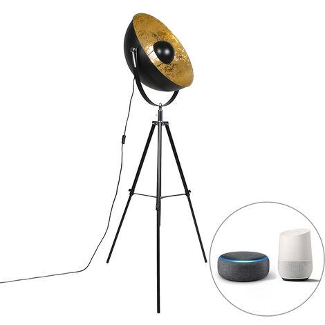 LED Lampadaire Industriel / Vintage intelligent trépied noir avec WiFi A60 - Magna 50 Eglip Qazqa Moderne Luminaire interieur Rond